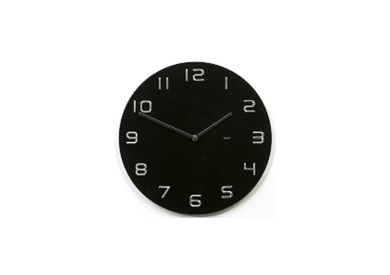 Black & Chrome Numbers Glass Clock 35cm