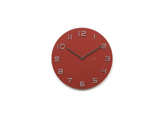 Red & Chrome Numbers Glass Clock 35cm