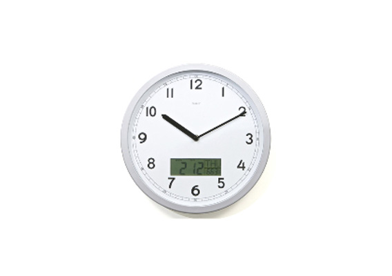 White Dial & LCD Day Date Temp Plastic Case Clock 30cm