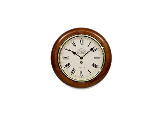 Victoria Station Roman Wall Clock 28cm Walnut