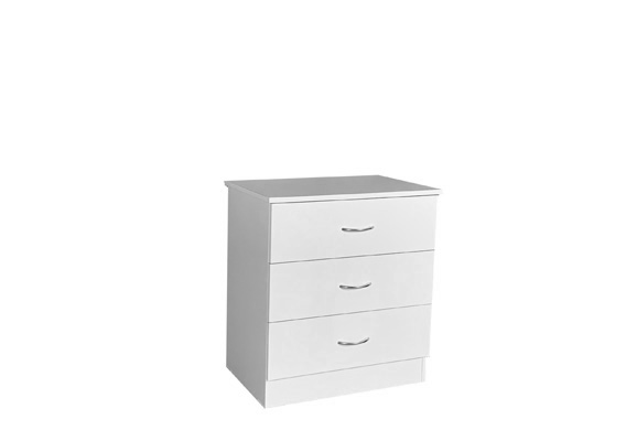 600w WHITE 3 DRAWER BEDSIDE CHEST