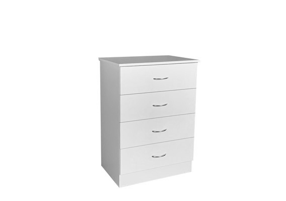 600w WHITE 4 DRAWER BEDSIDE CHEST