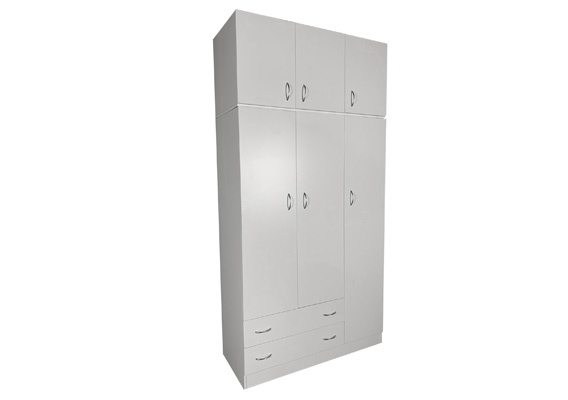 WHITE 3DOOR 2DRAWER ROBE + TOP 1200w