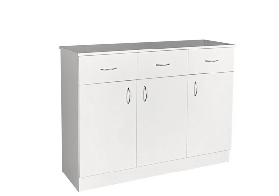 UTILITY STORAGE CUPBOARD - 1200w WHITE 3 DOOR 3 DRAWER