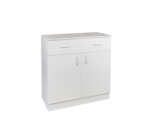 UTILITY STORAGE CUPBOARD - 900w WHITE 2 DOOR 1 DRAWER