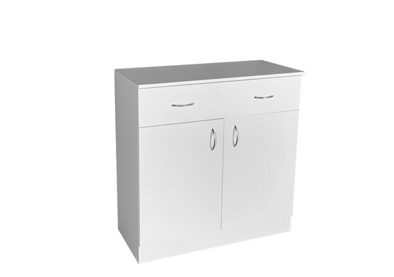 UTILITY STORAGE CUPBOARD - 900w WHITE 2 DOOR 2 DRAWER
