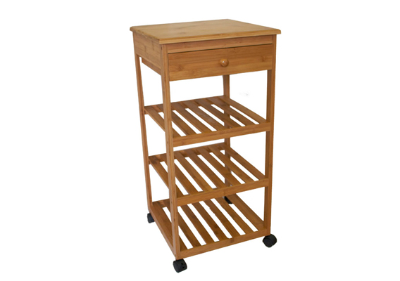Casa Mia Bamboo Trolley 4 Tier w Drawer