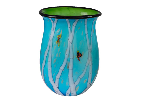 Coloured Glass Vase - Bamboo Artist Gu An 31cmH