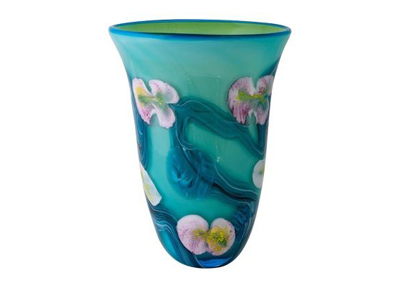 Coloured Glass Vase - Blue Gordonia 22x20x27cm