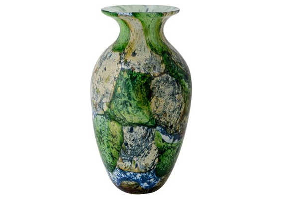 Coloured Glass Vase - Ebru 18x18x32cm