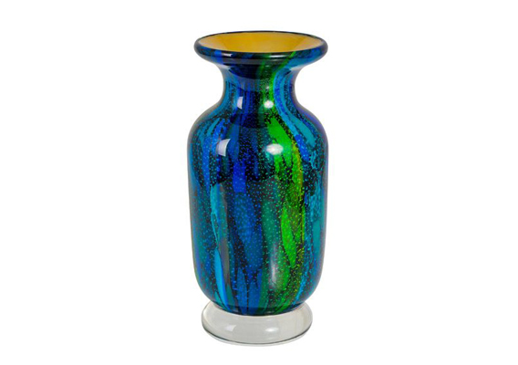 Coloured Glass Vase - Fulper Glaze 12x12x26cm