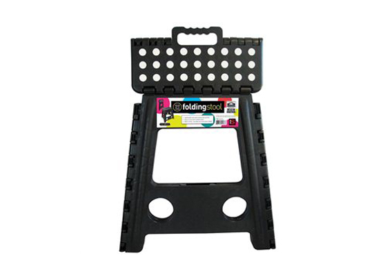 Folding Stool - Black With White Dots
