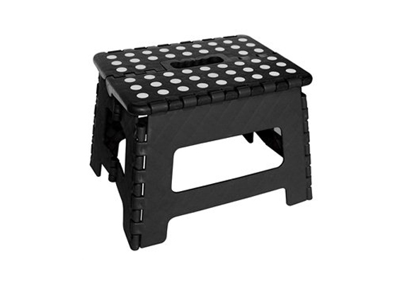 Folding Stool - Black with White Dots - Small