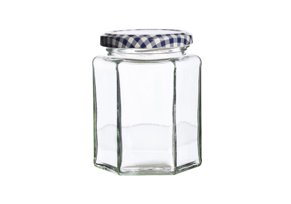 Kilner Hexagonal Twist Top Jar 280ml - Blue lid