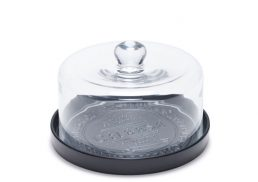 Salt & Pepper Fromage Cheese Plate Black w Glass Dome 20cm