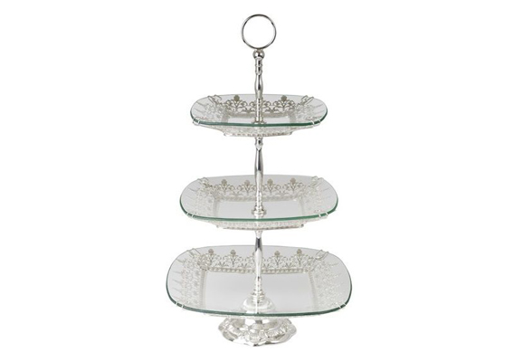 3 Tier Glass/Silver Stand