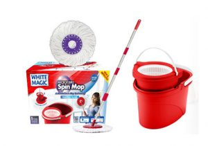 White Magic Spin Mop Hand Press Set