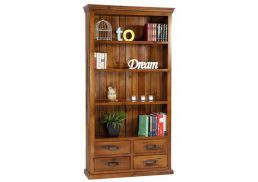 BRUNSWICK RUSTIC BOOKCASE 4 DRAWER