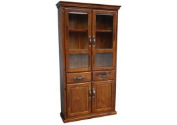BRUNSWICK RUSTIC DISPLAY CABINET - WITH DRAWERS