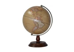 GLOBE 25CM ANTIQUE OCEAN WOODEN BASE