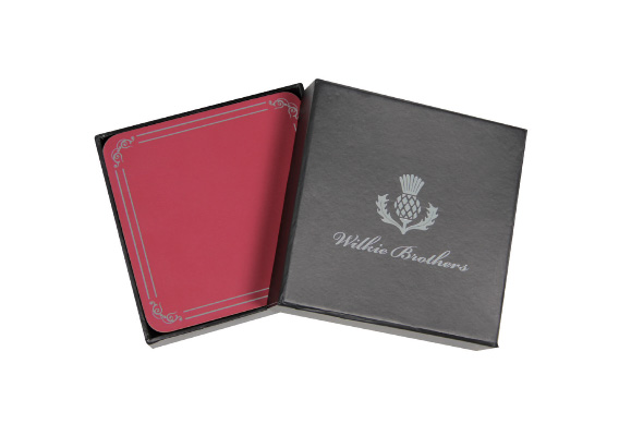 Wilkie Brothers Coasters Red with Silver Border