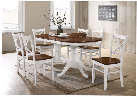 7PCE COASTAL EXTENSION DOUBLE PED DINING SETTING