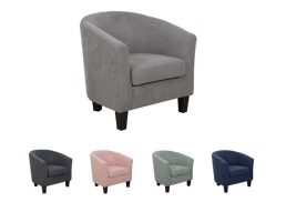 PABLO SINGLE TUB CHAIR GREY FABRIC