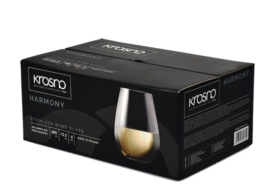 Harmony Stemless Wine Glass 400ML 6pc Gift Boxed