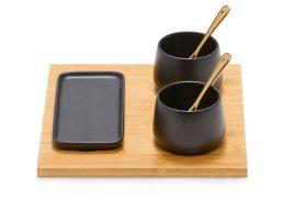 Salt & Pepper Kobe S3 Serving w Condiment Pots, Long Dish Spoons & Bamboo Tray