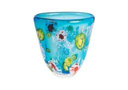 Coloured Glass Vase - Etang 15x9x18cm