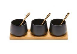 Salt & Pepper Kobe S3 Condiment Pots w Gold Spoons & Bamboo Tray